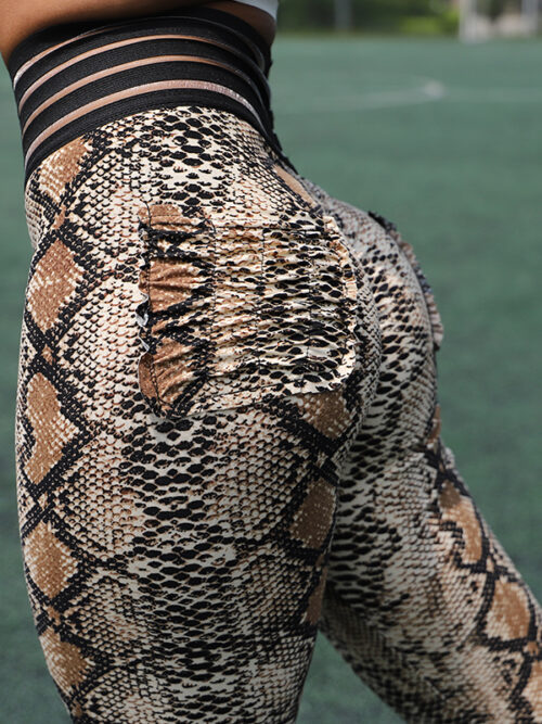 Elastic High Waist Push Up Snake Print Leggings For Women