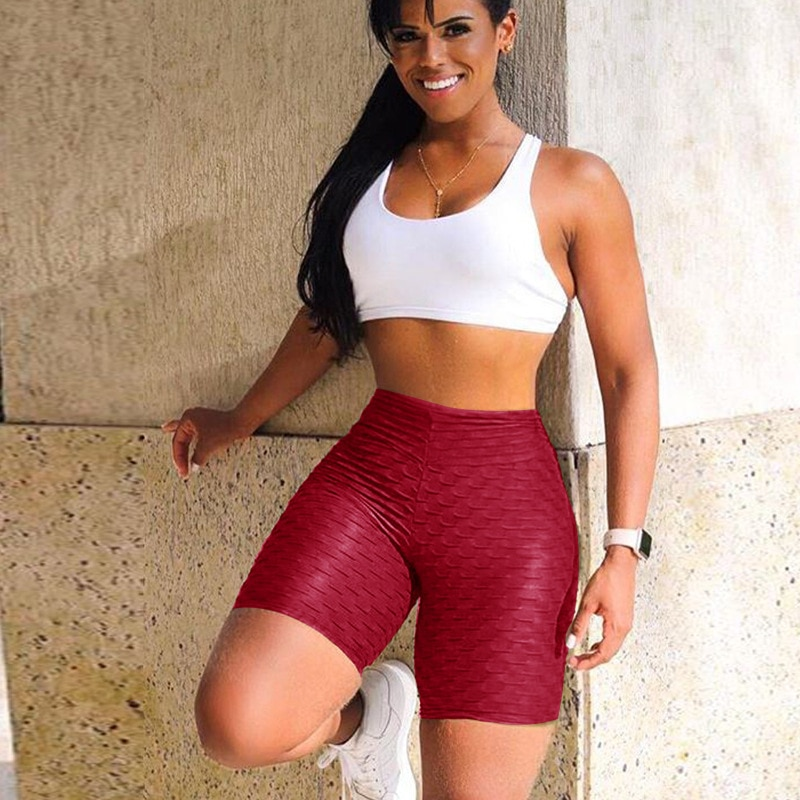 Women High Waist Anti Cellulite Short Leggings - Red